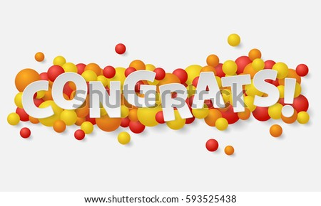 Banner paper white letters balls balloons stock vector 593525438 banner with paper white letters balls balloons and lettering congrats vector illustration thecheapjerseys Images