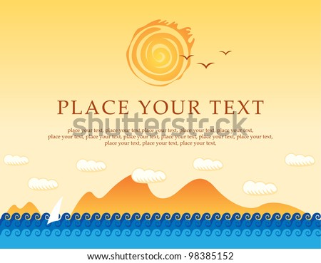 banner with sea, sun and sailing - stock vector