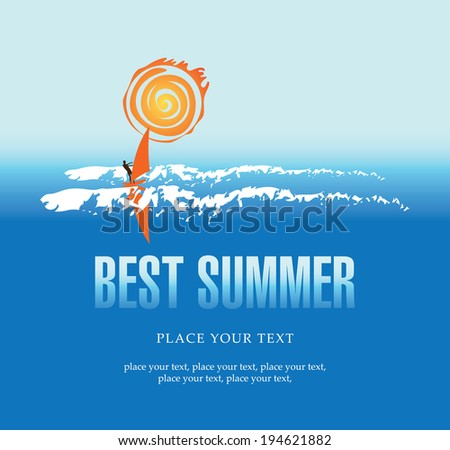 banner with sea, sun and surfer - stock vector