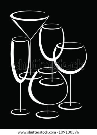 Banner with set of glasses for alcohol - stock vector