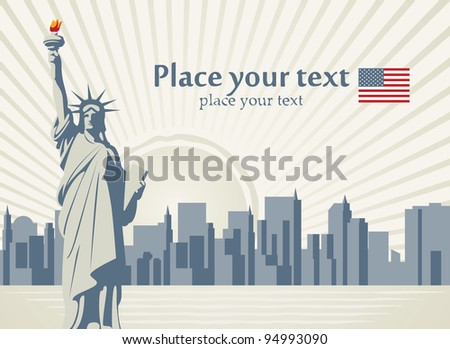 banner with statue of Liberty in background of New York - stock vector