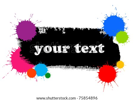 banner with stroke of the paint brush and colored blots - stock vector