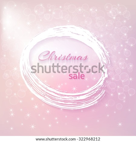 banner with the inscription - Christmas sale - a white frame encircled with a brush, a pink-purple background background with bokeh and snowflakes. - stock vector