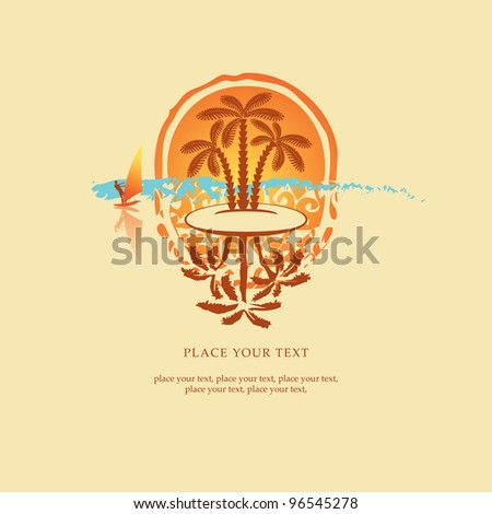 banner with the island, and surfers with sail at sunset - stock vector