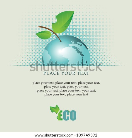 banner with the planet Earth as an apple on environmental issues - stock vector