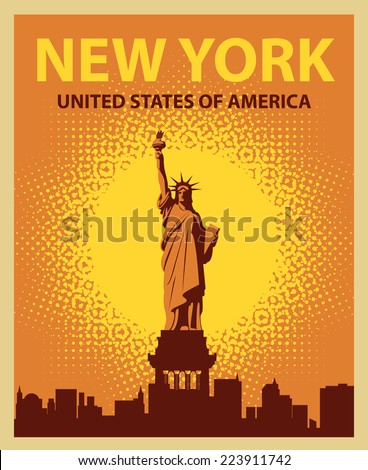 banner with the Statue of Liberty on the background of New York, and the sun - stock vector