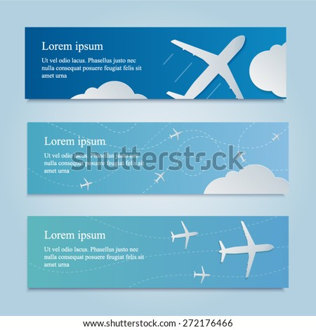 Banner with white airplane in the sky. Nice blue background for business and ticketing. - stock vector
