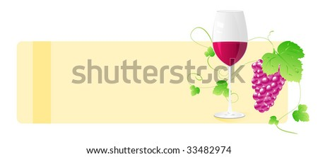 Banner with wine glass and grape with decorative elements. For wine card, designs, etc. - stock vector