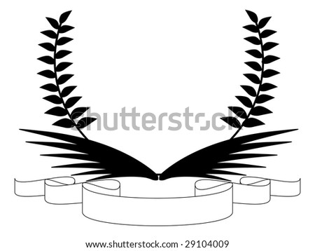 banner with wings and leaves - stock vector