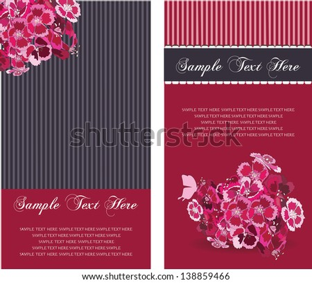 banners and invitation card with flowers,elegant stile