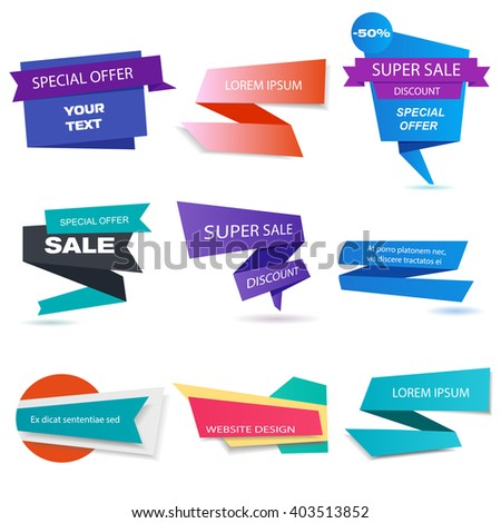 Banners collectoin. Website banners, sale banners. Set of banner elements. Banner design. Vector illustration, eps 10