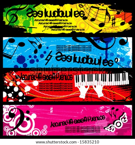 Banners decorated with musical symbols. and grunge elements, stained, spray, beads on a red, blue, yellow, green, lilac, pink background. VECTOR (See Jpeg Also In My Portfolio) - stock vector