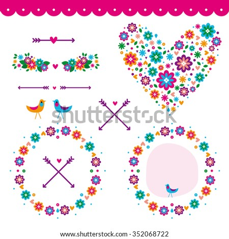 Banners, floral frames and nature graphic elements / wedding / Valentine Day, arrow, set / Love / Cute / Sweet - stock vector