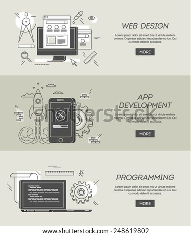 banners for web design, app development and programming, vector illustration - stock vector
