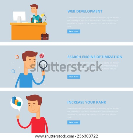 Banners for web: web development, search engine optimization, increase your rank. Flat style, vector illustration with characters  - stock vector