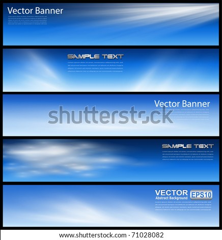 Banners, headers blue clouds set, vector. - stock vector
