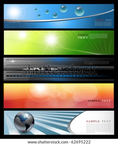 Banners, headers colorful abstract set, vector. - stock vector