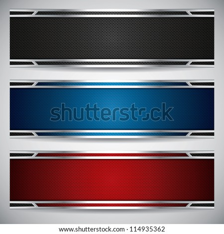 Banners, metallic set, modern backgrounds design, vector - stock vector