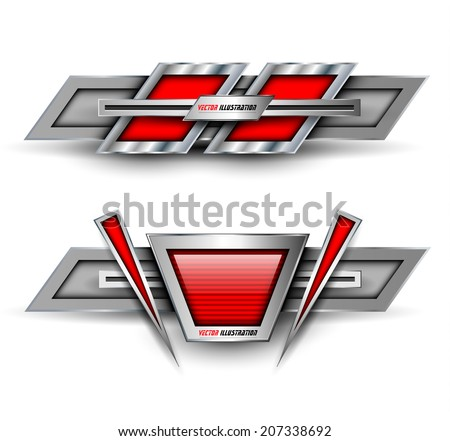 Banners, metallic set, modern 3D backgrounds design, vector. - stock vector