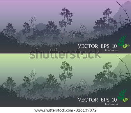banners of Forest ,Vector illustration of Forest, landscape background with forest & mountains. Vector illustration - stock vector