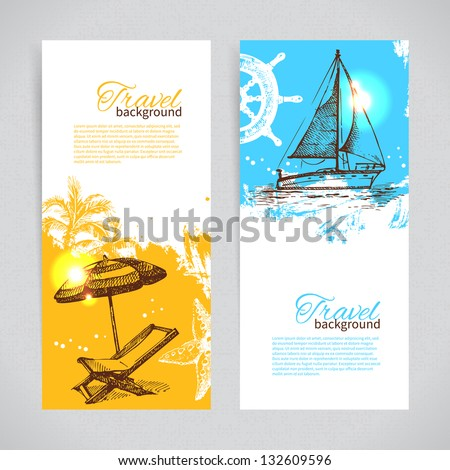 Banners of travel colorful tropical design. Splash blob backgrounds - stock vector