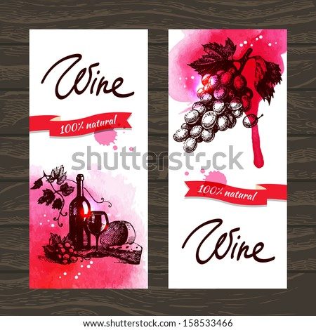 Banners of wine vintage background. Hand drawn watercolor illustrations - stock vector