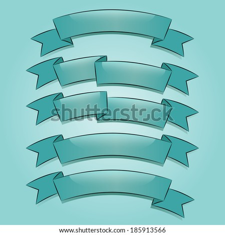 Banners or ribbons set in turquoise style - stock vector