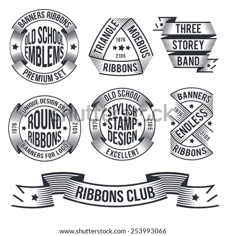 Banners, ribbons in the style of engraving or stamp, for emblems,. Unusual vintage banners. Endless, round, arched ribbons for emblems.Text for example - is removed, without prejudice to banners. - stock vector