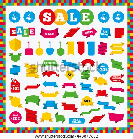 Banners, sale stickers and sale labels. Handshake icons. World, Smile happy face and house building symbol. Dollar cash money bag. Amicable agreement. Sale price tags. Vector - stock vector