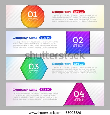 Banners set number modern design vector. Banners template. Graphic or website layout
