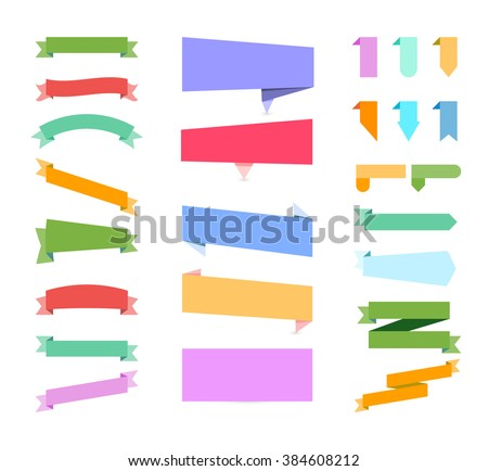 Banners. Set of colored Banners. Set of Banners on white background. Banners Sale Labels. Banners for web site. Banners Vector illustration. Banners flat Graphic. Banners Object. Banners Art. Banners. - stock vector