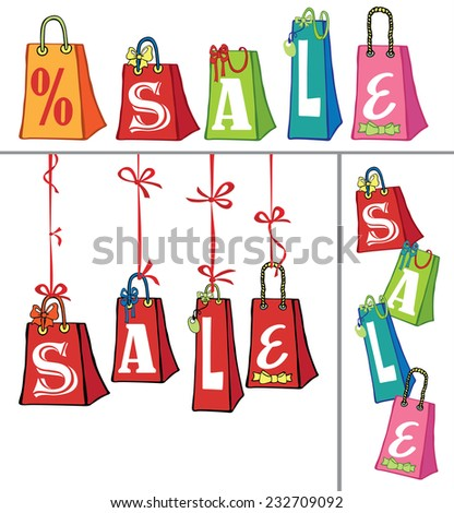 Banners Set of colorful gift bags with  word SALE. Hand drawing style.Square,vertical,horizontal design template.Doodle Holiday Vector illustration. For sale and black Friday.Modern flat style - stock vector