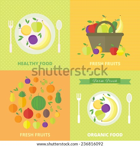 Banners set with fresh fruits and berries. Vector illustration in flat style. Concept healthy food, diet and vegetarian food - stock vector
