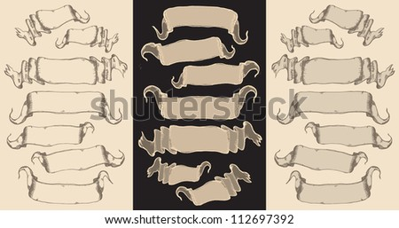 Banners-vector set - drawn - stock vector