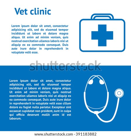 Banners veterinary medicine design. Diagnosis and treatment of animals