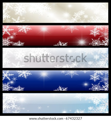 Banners winter christmas set, vector.
