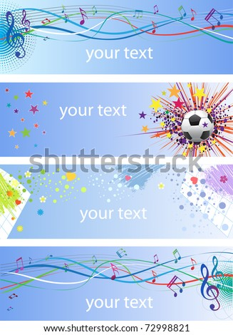 Banners with abstract compositions and place for text. 10 eps - stock vector