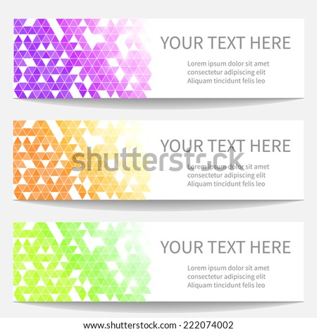 Banners with abstract triangle pattern for your site or business cards