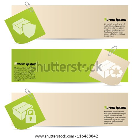Banners with attached notepapers on white background - stock vector