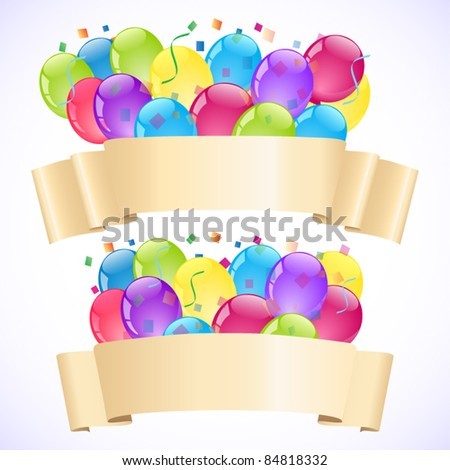 Banners with balloons - stock vector