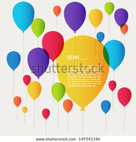 Banners with colorful balloons. - stock vector