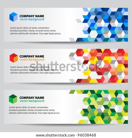 Banners with colorful cubes - stock vector