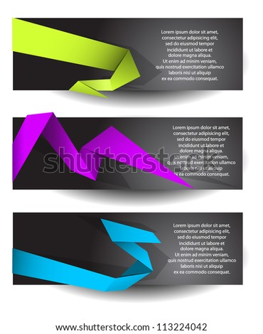 Banners with colorful origami elements - stock vector