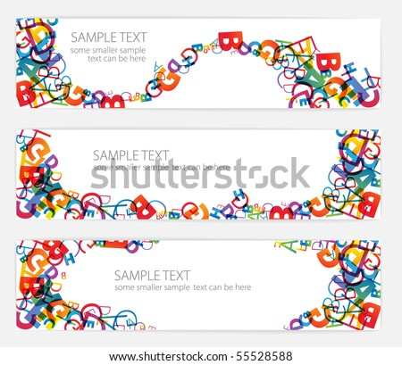 Banners with colorful rainbow numbers - stock vector