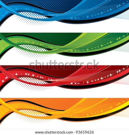 Banners with colorful waves and halftone effects - stock vector