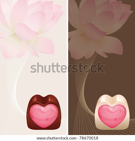 Banners with heart shaped praline and flower lotus
