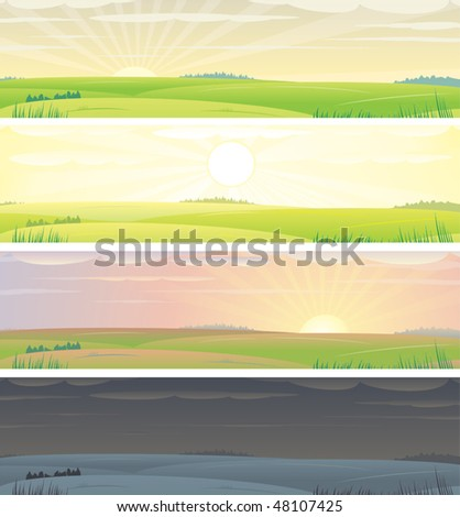 Banners with landscape  showing day cycle, vector illustration - stock vector