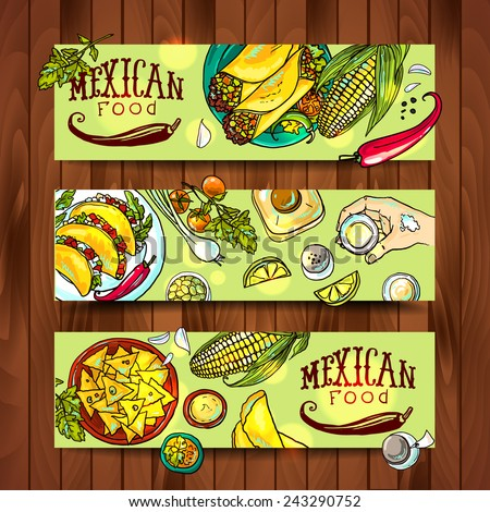 banners with mexican food - stock vector
