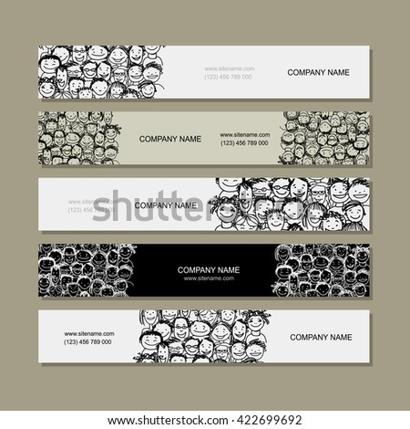Banners with people crowd for your design. Vector illustration - stock vector