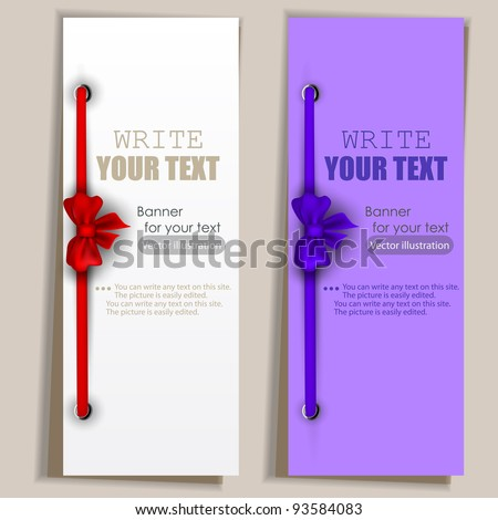 Banners with ribbons. Vector set - stock vector